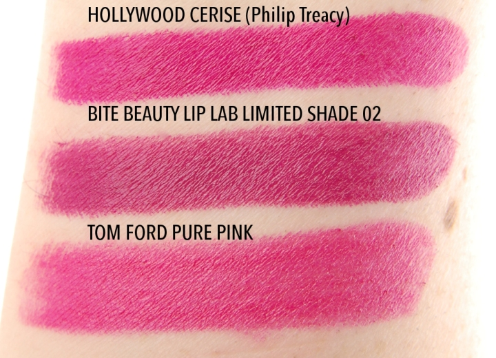 MAC-Philip-Treacy-Hollywood-Cerise-lipstick-swatch-comparison-dupe